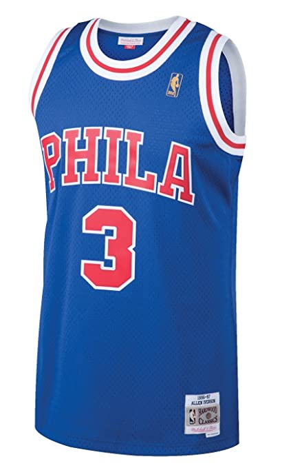 Allen Iverson Philadelphia 76ers Mitchell and Ness Men s Blue Throwback  Jesey X-Large cb46dca8e2da