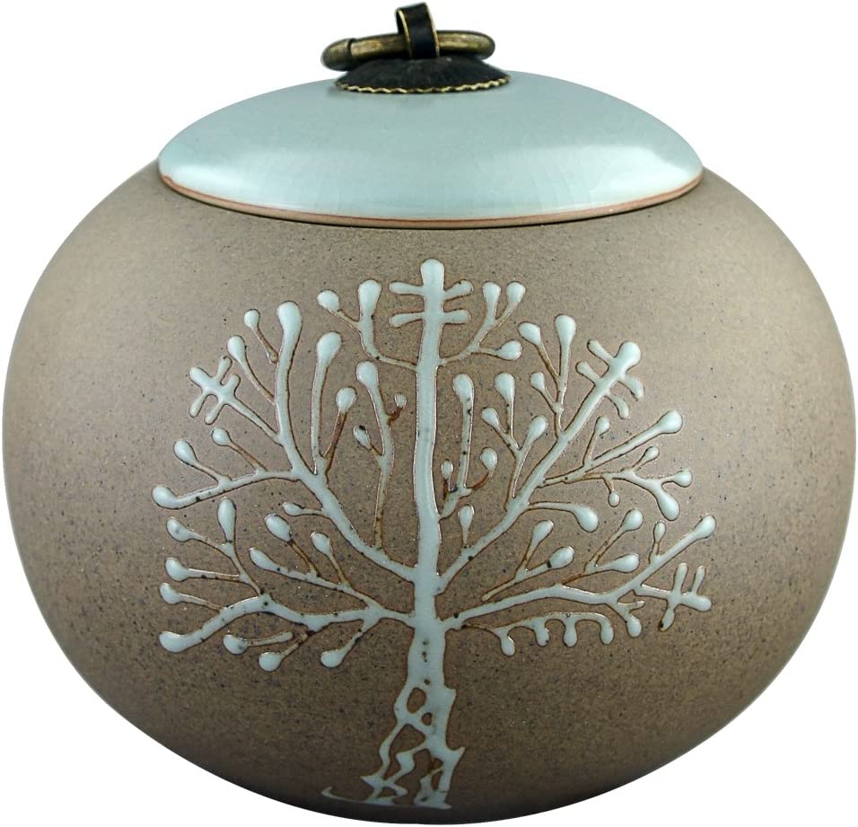 """5"""" Medium-Sized, Cremation Urns for Ashes - Funeral Urn for Human Ashes - Made in Ceramics & Hand-Painted - Display Burial Urn At Home or in Niche at Columbarium ( Brown Tree of Life, Memorials Urn"""