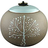 """5"""" Medium-Sized, Funeral Urn by Meilinxu -Cremation Urns for Human Ashes Adult or Pet - Made in Ceramics and hand-painted - Display Burial Urns At Home or in Niche at Columbarium (Brown Tree of Life"""