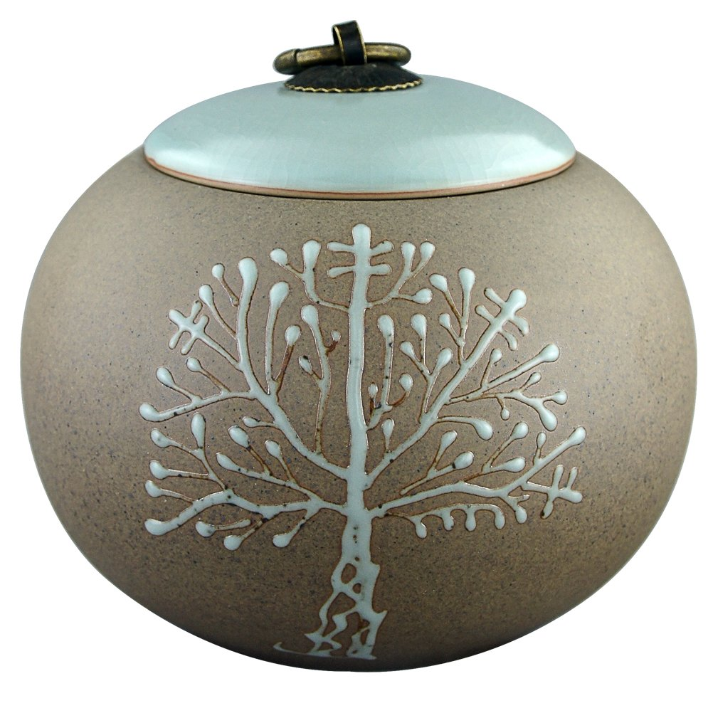 5'' Medium-Sized, Cremation Urns for Ashes - Funeral Urn for Human Ashes - Made in Ceramics & Hand-Painted - Display Burial Urn At Home or in Niche at Columbarium ( Brown Tree of Life, Memorials Urn by M MEILINXU