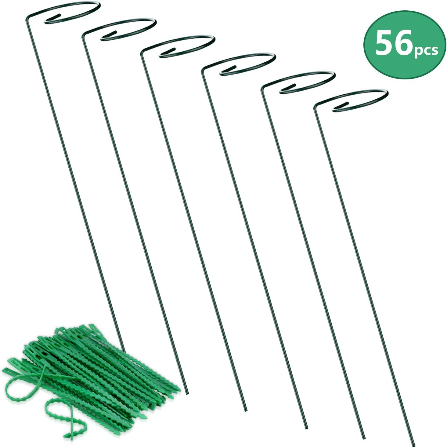 Steel Single Stem Support Stake Plant Cage Support Ring Flexible Plant Cable for Tomatoes Peony Flower Rose Lily Graden Pots 6pcs Garden Plant Supports Stakes and 50pcs 17.5cm Adjustable Plant Ties