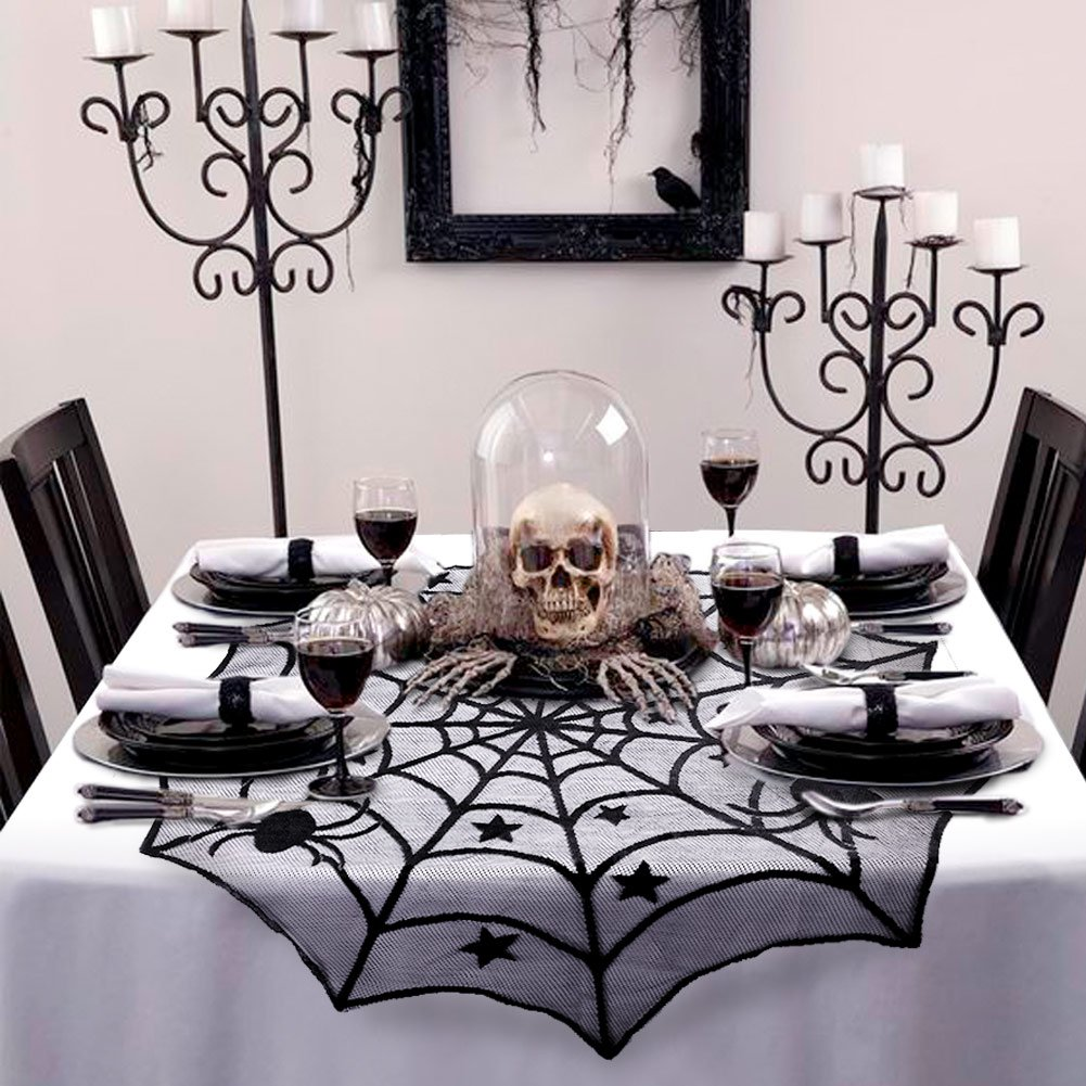 AerWo 40,Inch Black Spider Halloween Lace Table Topper Cloth for Halloween  Table Decorations