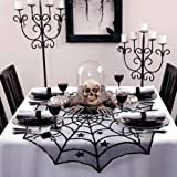 AerWo 40-Inch Black Spider Halloween Lace Table Topper Cloth for Halloween Table Decorations