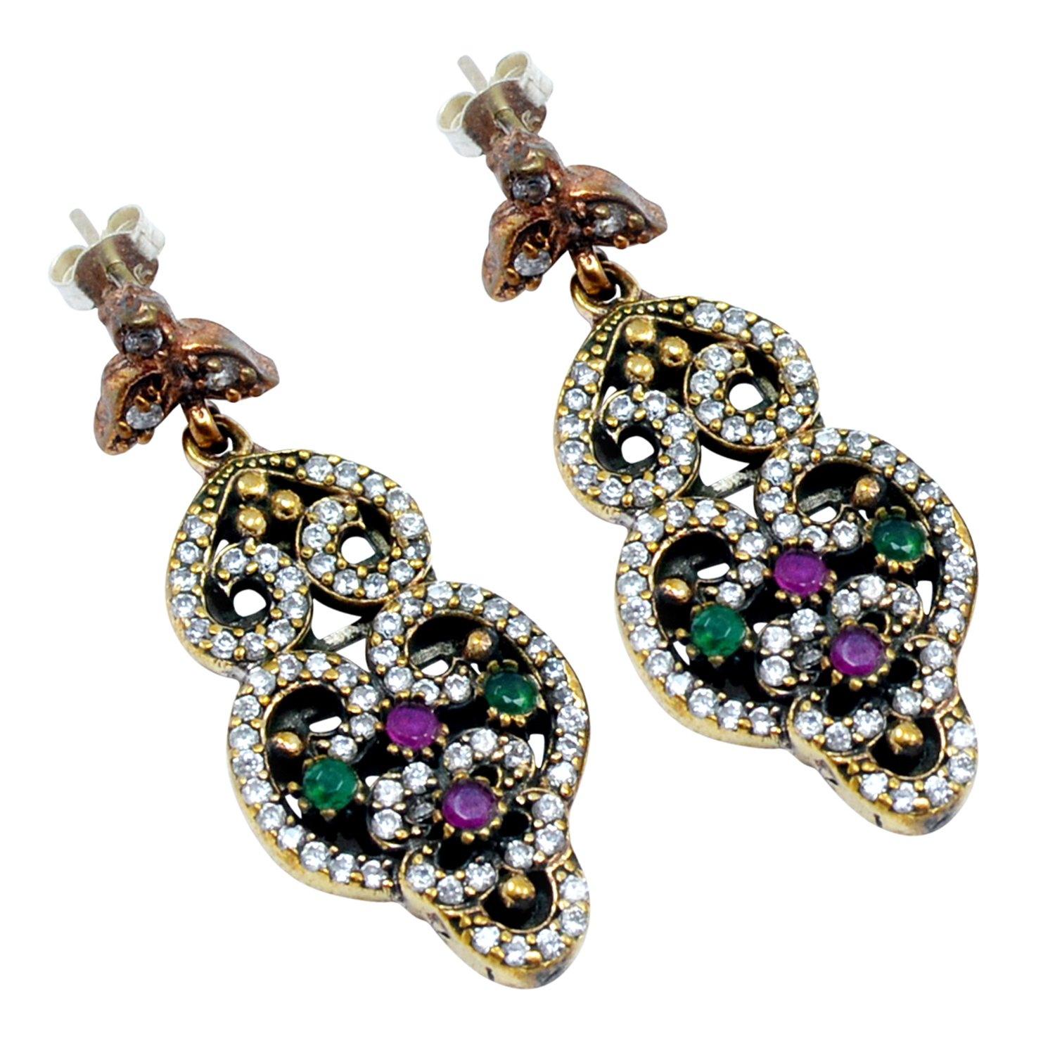 Ruby /& Topaz 925 Sterling Silver With Bronze Drop /& Dangle Turkish Earring PG-104533 Lab Saamarth Impex Emerald
