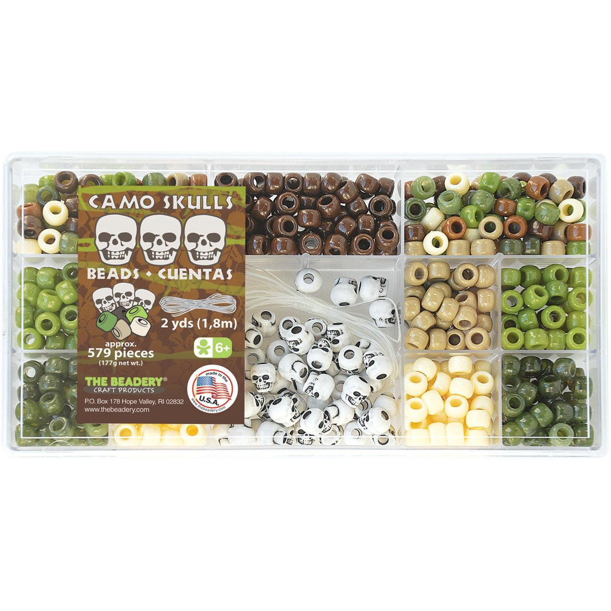 Beadery B6471 579-Piece Bead Box Kit, 6.25-Ounce, Camo Skulls