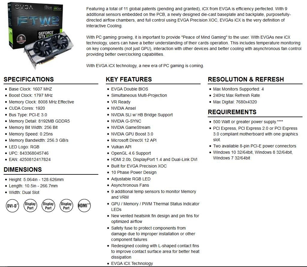 EVGA GeForce GTX 1070 SC GAMING ACX 3 0 Black Edition, 8GB