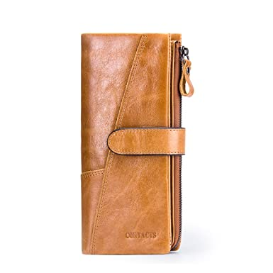 a6da01271cbe Contacts Mens Genuine Leather Vintage Trifold Card Phone Clutch Long Wallet  18 Card Slots Brown