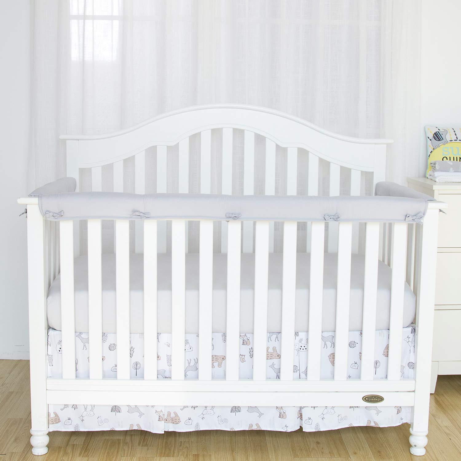 TILLYOU 3-Piece Padded Baby Crib Rail Cover Protector Set from Chewing, Safe Teething Guard Wrap for Standard Cribs, 100% Silky Soft Microfiber Polyester, Fits Side and Front Rails, Pale Gray by TILLYOU