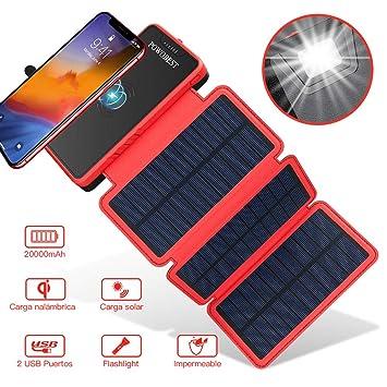 Cargador de Solar 20000Mah,Inalámbrico PowerBank Portátil de POWOBEST,Impermeable Batería Externa con 3 Paneles Solares Plegables, Linterna, Dual USB ...