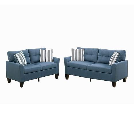Poundex F6535 PDEX-F6535 Sofas, Blue