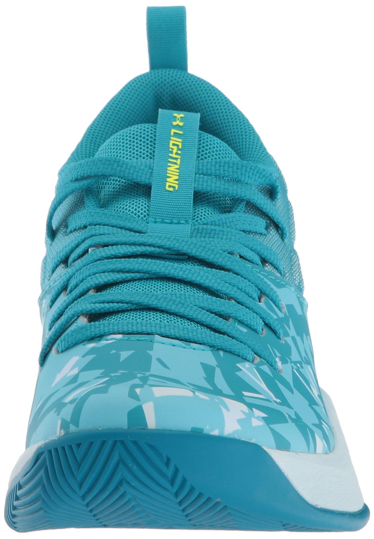 Under Armour Girls' Grade School Lightning 5 Basketball Shoe, Deceit (300)/Halogen Blue, 5.5 by Under Armour (Image #4)