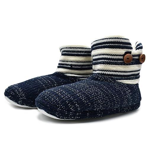 Amazon Oncai Womens Woolen Knit Slipper Boots Floppy Faux Fur