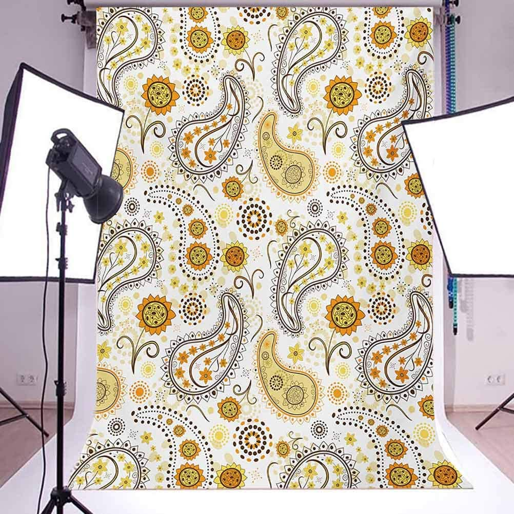 Sunflower 10x12 FT Photo Backdrops,Tribal Floral Pattern with Sunflowers and Paisley Vintage Boho Background for Baby Shower Bridal Wedding Studio Photography Pictures Orange Yellow White