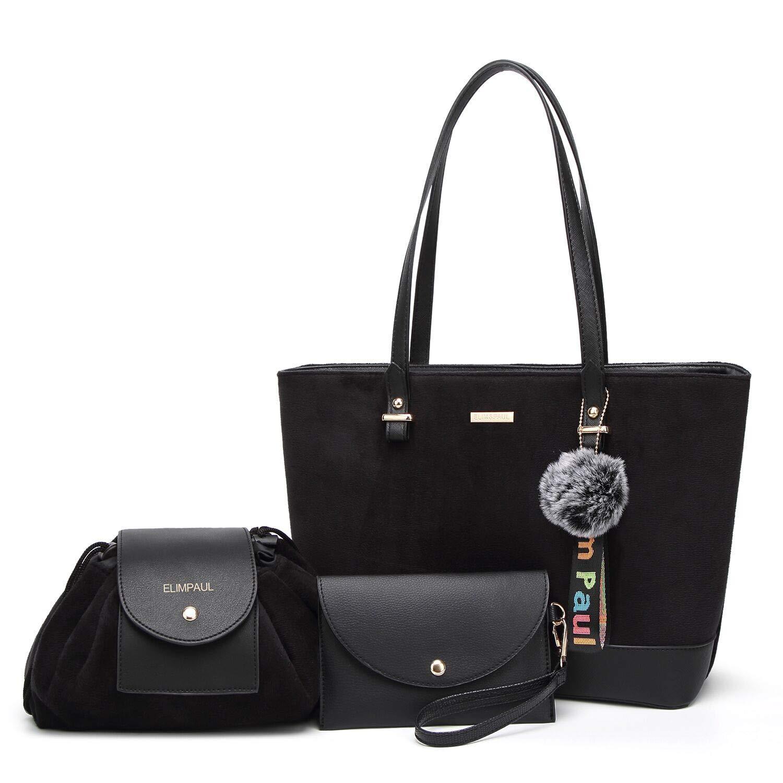 ELIMPAUL Women Fashion Handbags Tote Bag Shoulder Bag Top Handle Satchel Purse Set 4pcs (black-2)