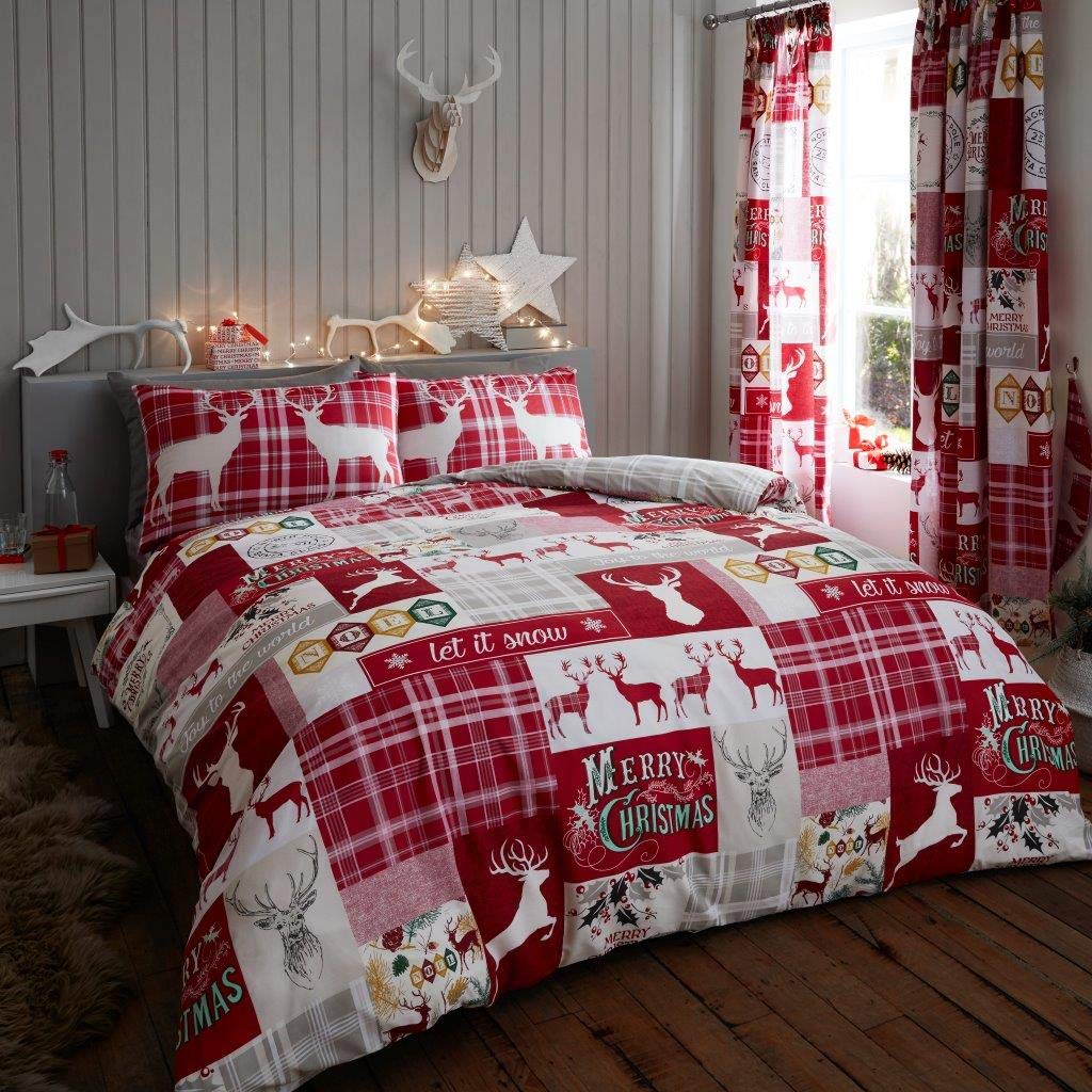 Christmas Bedding.Ukfashion Christmas Bedding Set King Size Bed Duvet Cover Sets With Pillow Cases Luxury Quilt Covers King Size Xmas Patchwork Stag