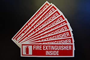 "(10 Pack) Fire Extinguisher Inside Logo Sign | 8"" X 2"" Self Adhesive Indoor Outdoor Vinyl Decal Stickers (X10PS44)"