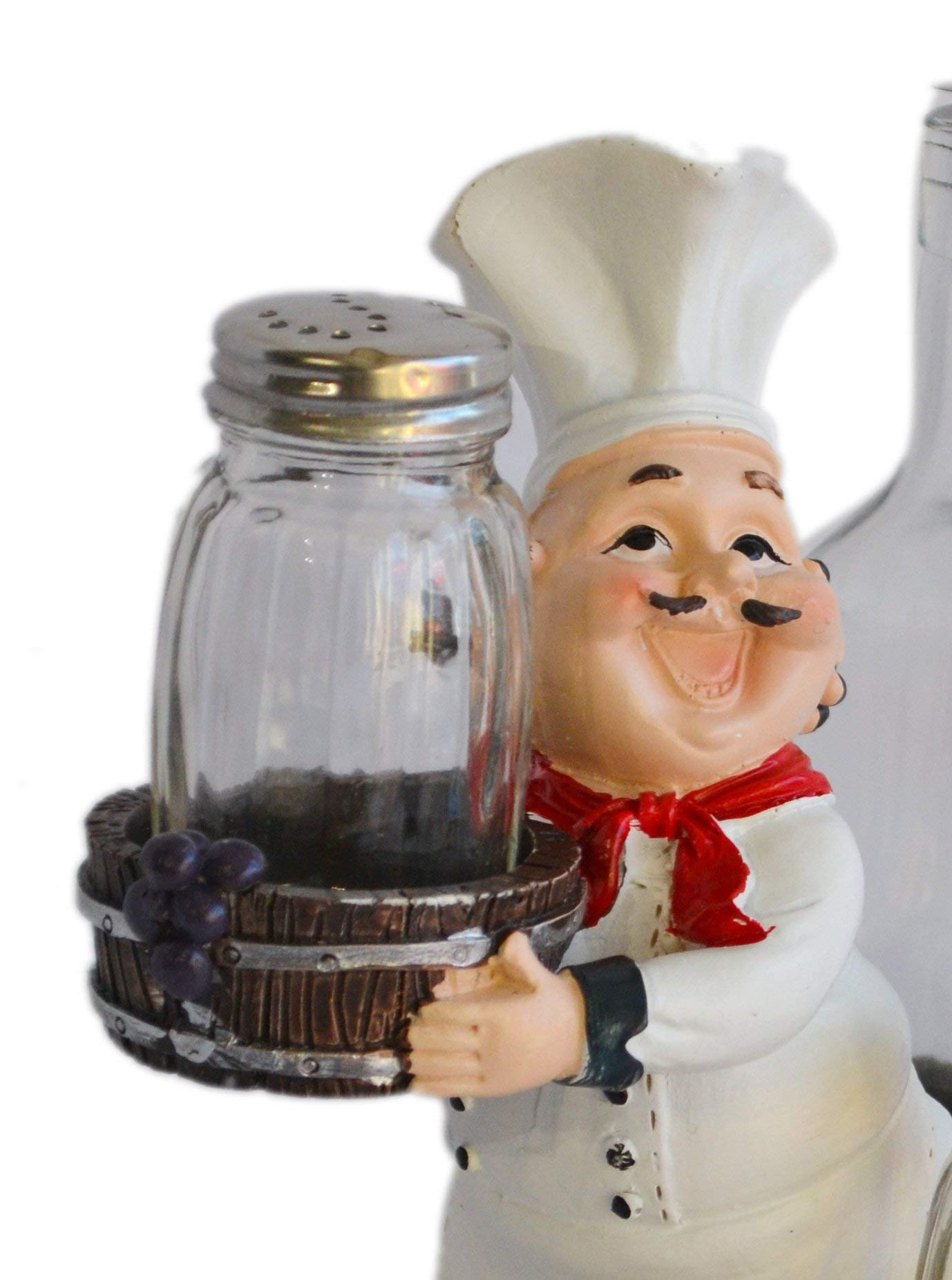 Chef With Resin & Glass Salt Pepper Shakers And Oil Holder Figurine by My Aashis (Image #2)