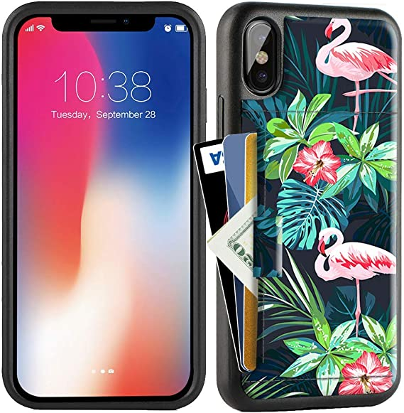 Wallet Case with Credit Card Holder Slot Slim Leather Pocket Protective Case Cover for Apple iPhone Xs and X 5.8 inch Aries Series ZVE Case for Apple iPhone Xs and X 5.8 inch - Banana