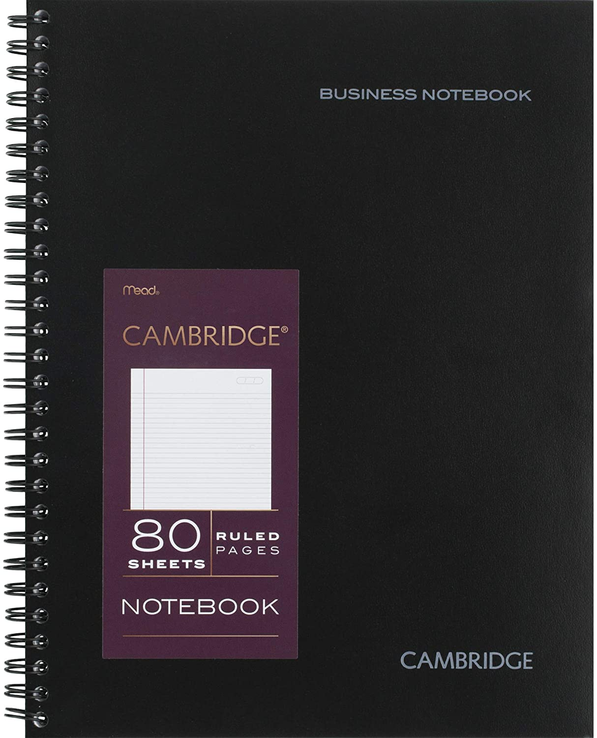 "Cambridge Limited Professional Spiral Notebook NEW BUSINESS ADDITION, Legal Ruled Lines, 6-5/8"" X 9-1/2"" Page Size, 80 Sheets, Wirebound Office Journal & Notebook for Women & Men, Black (CAM10-402)"