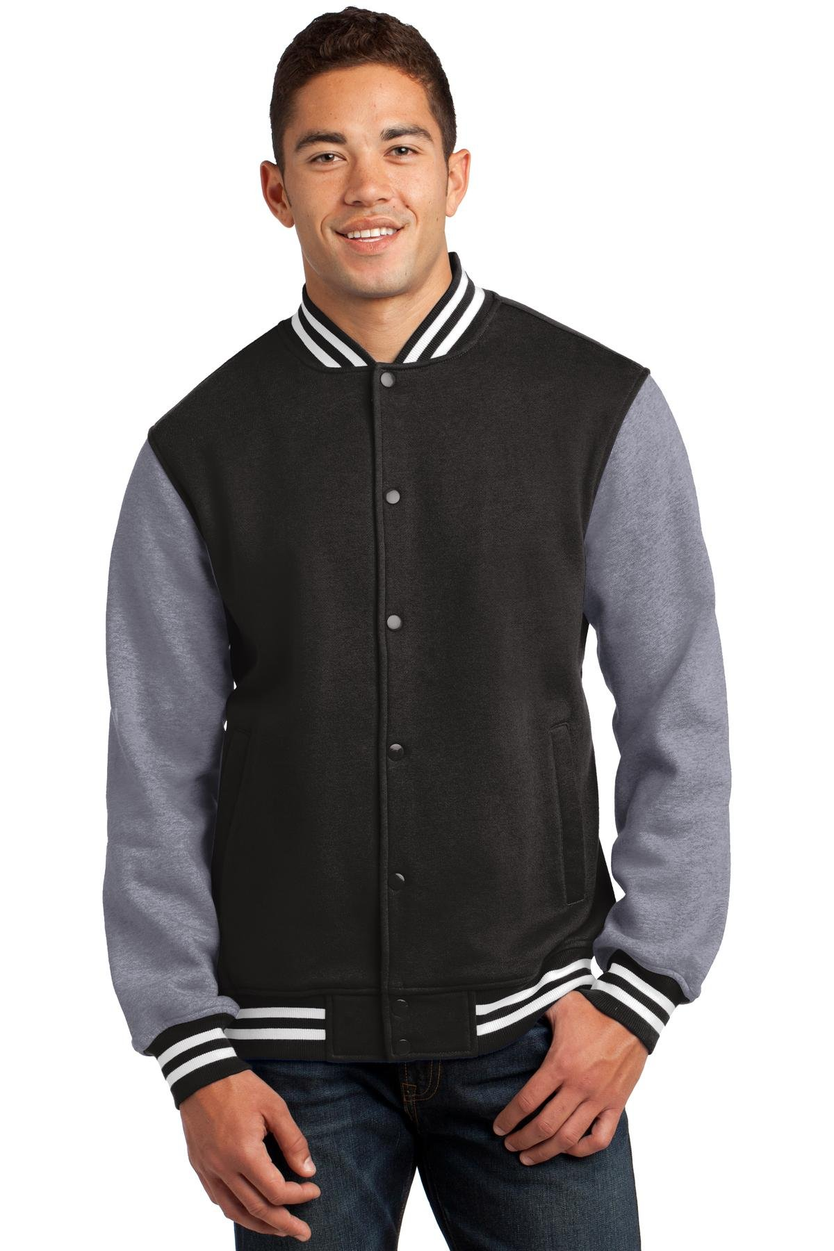 Sport-Tek Men's Fleece Letterman Jacket 3XL Black/ Vintage Heather