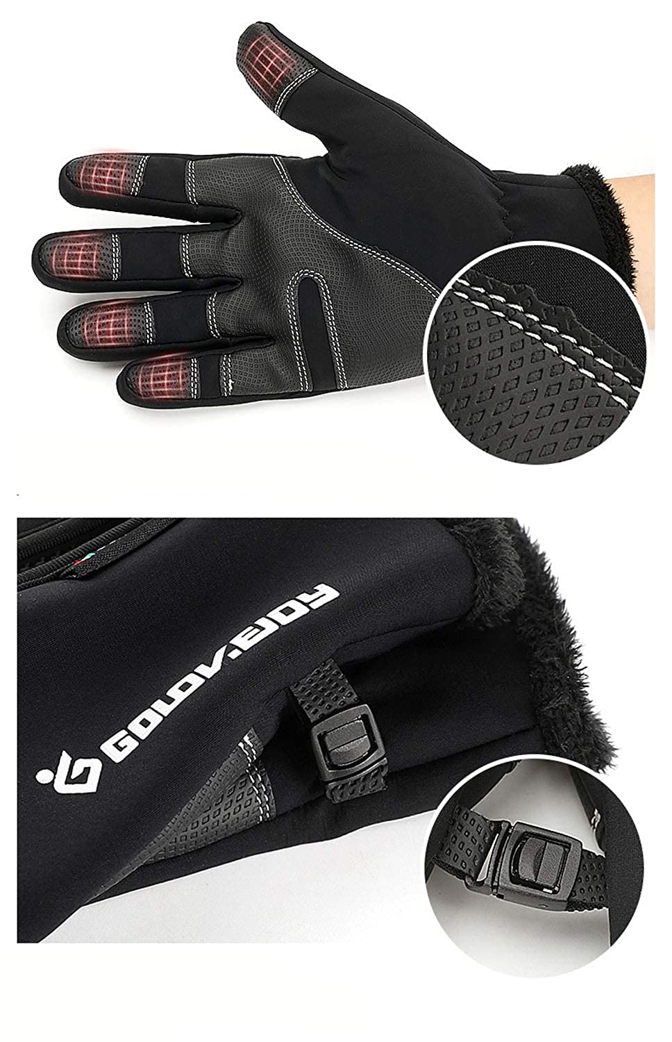 ChenZe Gloves Touch Screen Winter Warm Driving Thick Outdoor Sports Cold Weather