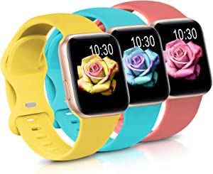 Sport Band Compatible with Apple Watch iWatch Bands 42mm 44mm,Soft Silicone Strap Wristbands for Apple Watch Series 3 6 5 4 2 1 SE Women Men Pack 3,Ginger/Teal/Rose,42/44mm,S/M