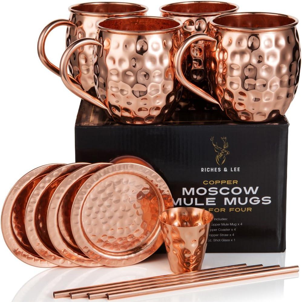 Riches & Lee Vasos de Cobre Moscow Mule Incluye 4 Vasos, 4 Posavasos, 4 pajitas, 1 Vaso medidor más Accesorios de Cobre Puro al 100% Vasos de Barril