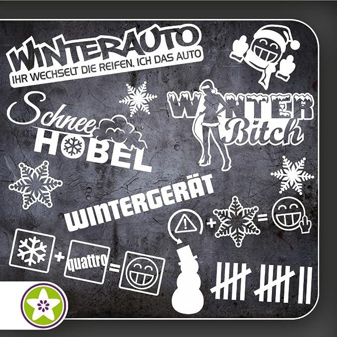 Kiwistar Sticker Bomb Set 06 Bogengröße A4 Winterauto Wintergerät Winterquattro Schneehobel Winterbitch Schneemannkiller Auto