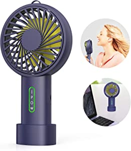 IPOW Mini Handheld Fan Personal Portable Fan 3 Speed Adjustable Angle Removable Base Lanyard USB Recharging Battery Operated Small Desk Cooling Face Fan for Home Camping Disney Travel Navy Blue