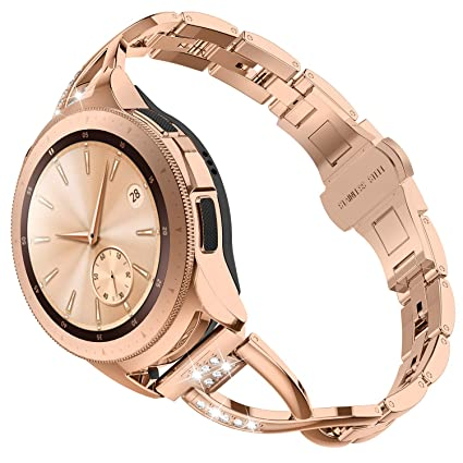 TOYOUTHS Compatible with Samsung Watch 42mm Band Women Rose Gold Rhinestone Replacement Smart Watch Bands Bracelets for Samsung Watch 42mm R810/Galaxy ...