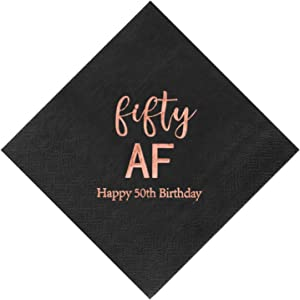 Crisky 50th Birthday Napkins Black Rose Gold for Women Fifty 50th Birthday Cocktail Napkins Beverage Napkins 50th Birthday Party Dessert Cake Table Decorations, 50 Count, 3-Ply