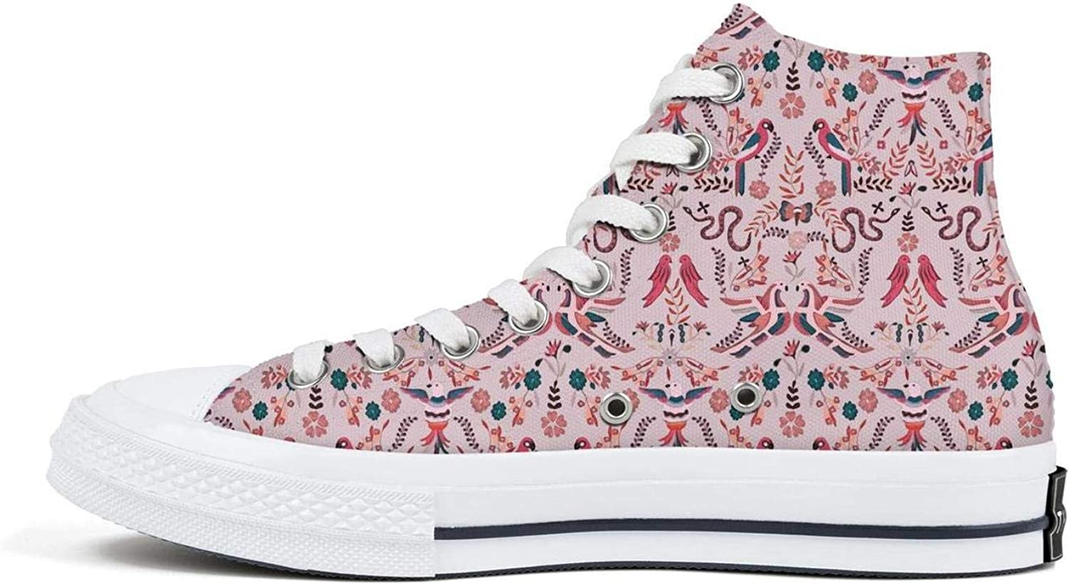 Womens Cute Floral Pattern Canvas High Top Lace-up Classic Casual Shoes Vintage Sneaker