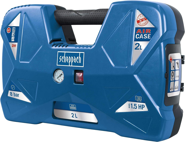 Scheppach Kompressor Air Case 1100w 2 L 8 Bar Ansaugleistung 180 L Min ölfrei Tragbar Und Mobil Mini Kompressor Mit 12 Teiligem Zubehör Set Baumarkt