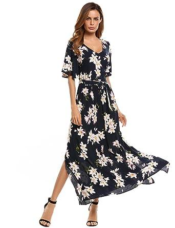 a800543323da Fanala Women Long Floral Boho Dress Print Casual Beach Bohemian Dress  Seaside Cocktail Casual Holiday Dress Elegant Black Flowy Dress Dresses:  Amazon.co.uk: ...