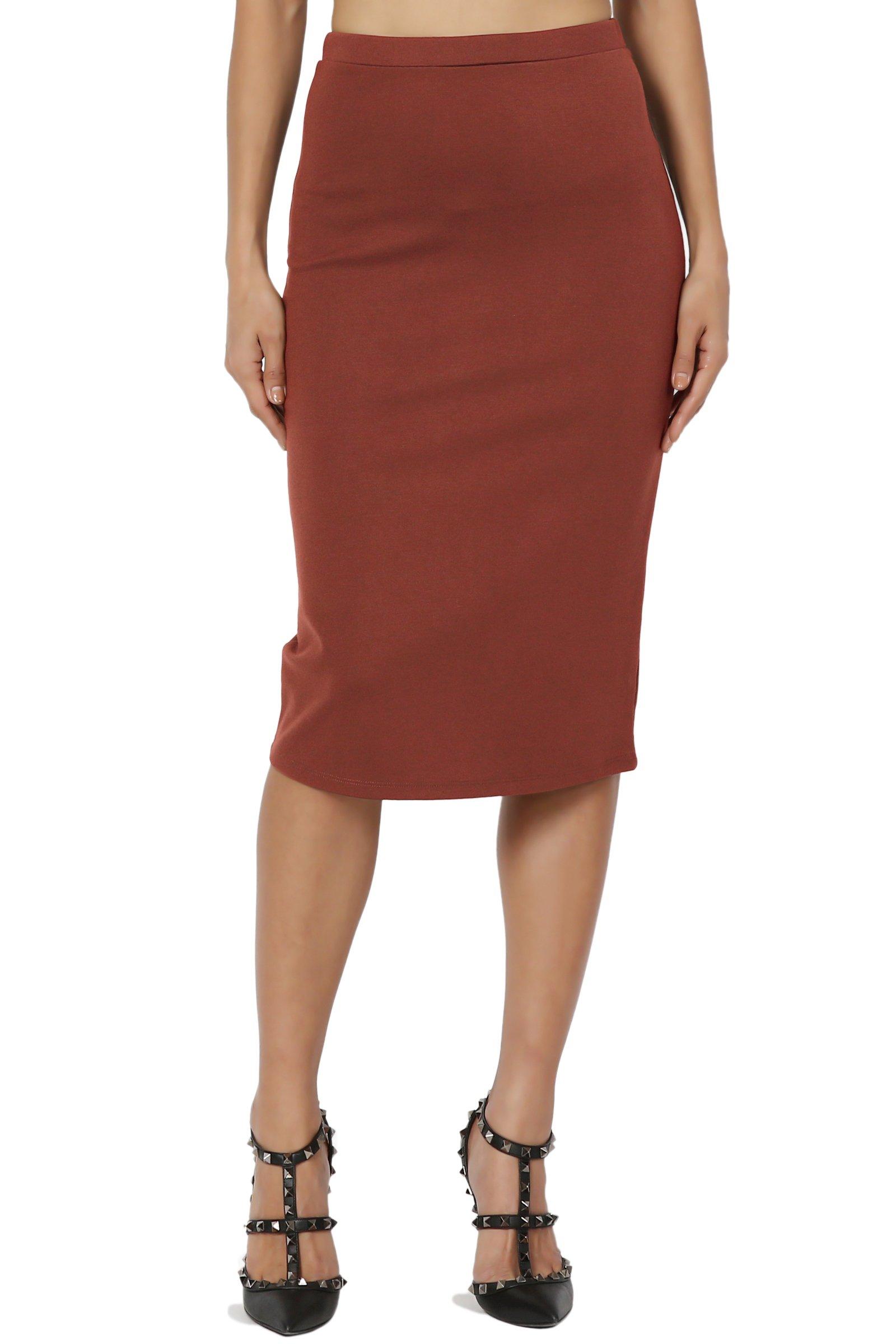 TheMogan Women's Basic Stretch Thick Ponte Knit Pencil Midi Skirt Dark Rust 1XL