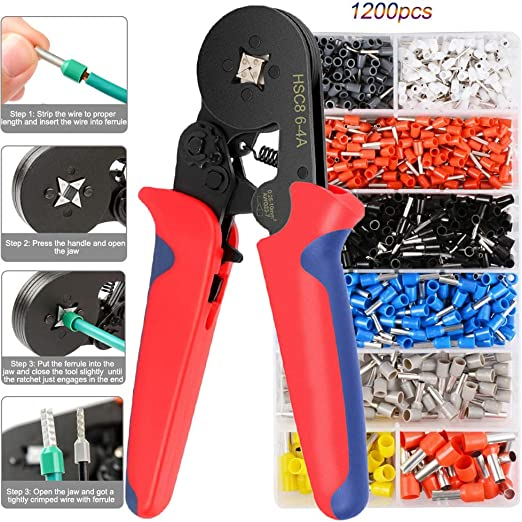 Ferrule Crimper Pliers Set Wire Crimping Tool Kit 1200 Terminal Connector Sleeve
