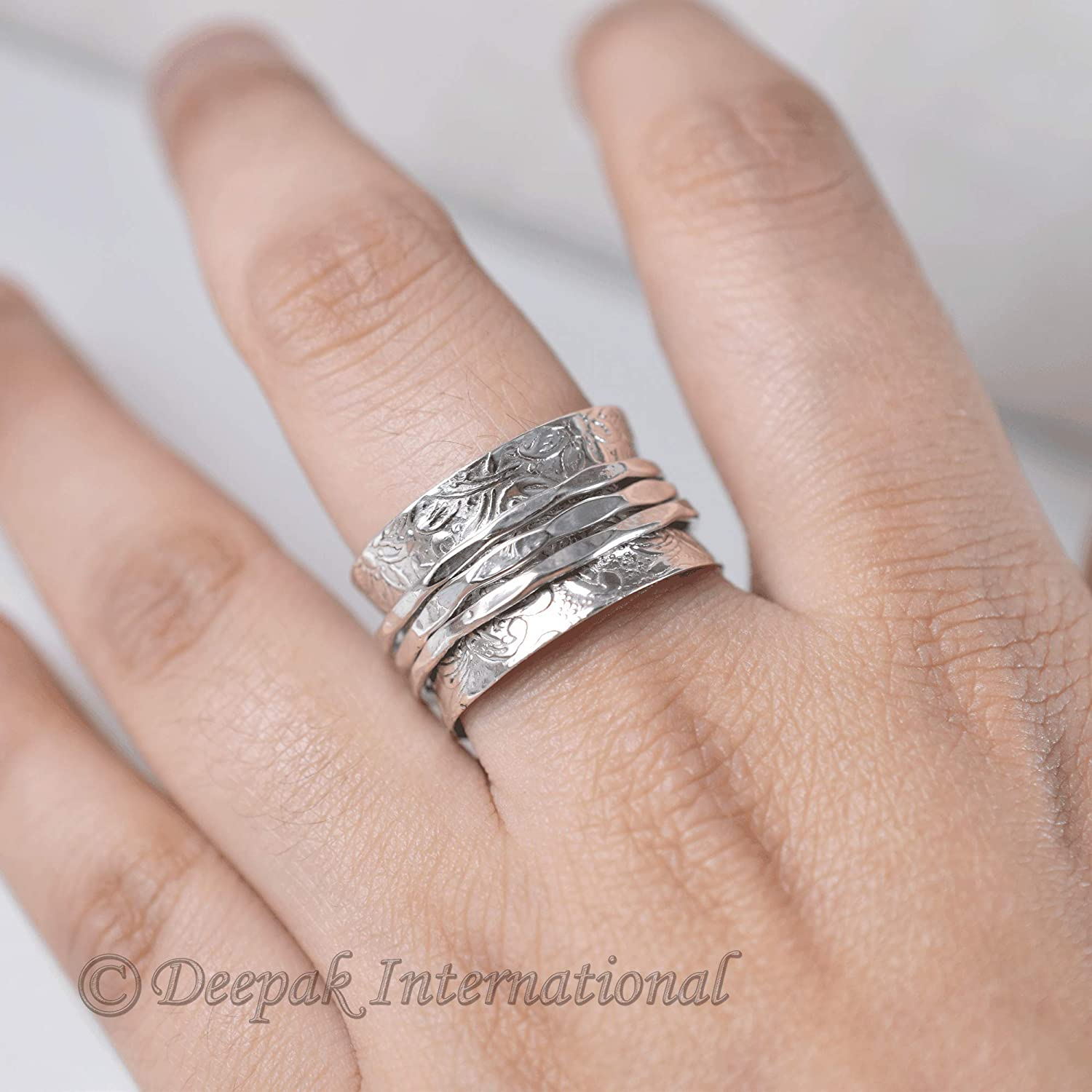 Chunky 925 Sterling Silver Wide Thumb Band Mediation Spin Spinner Ring Z53