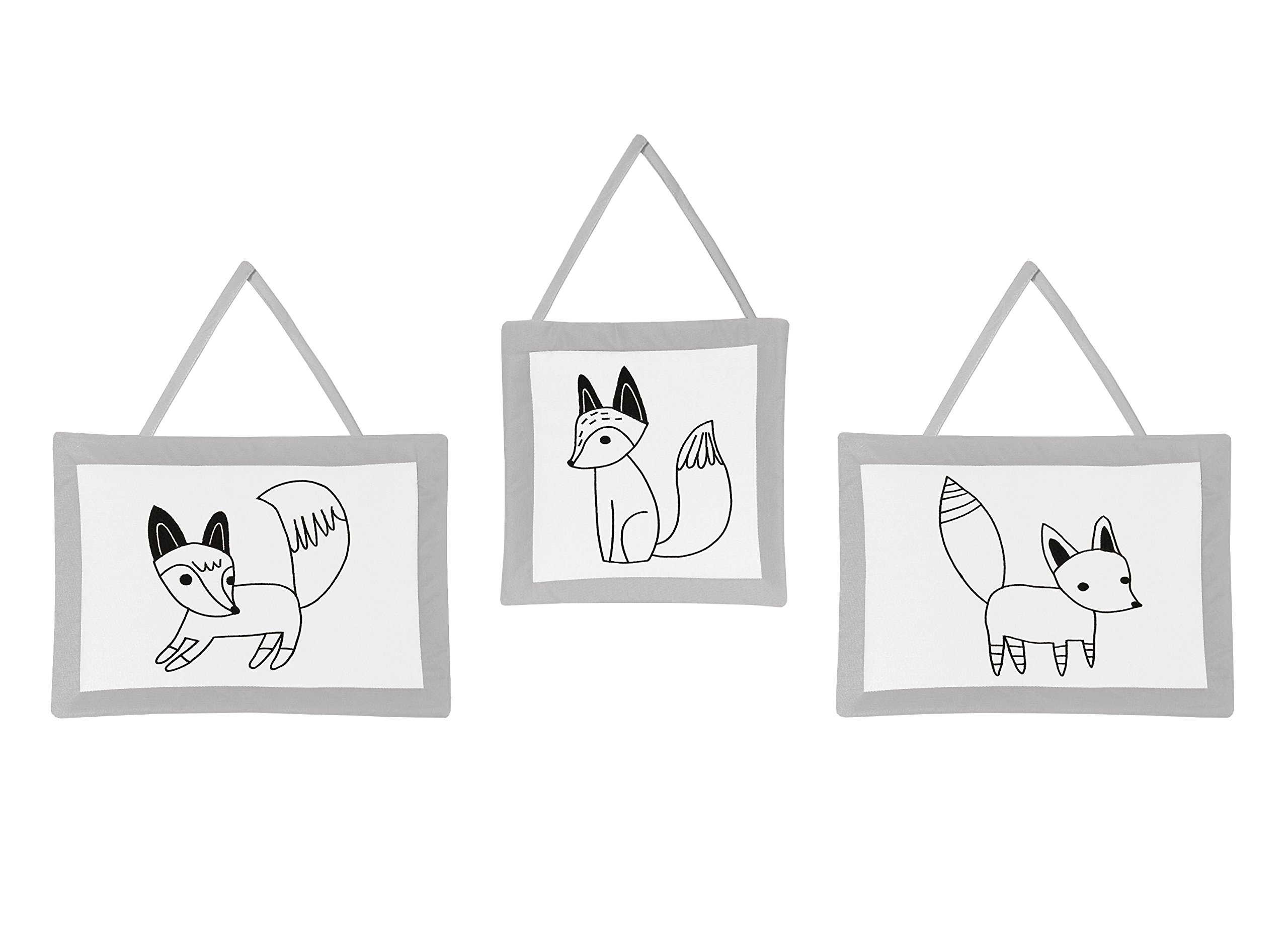 Sweet Jojo Designs Grey, Black and White Fox Wall Hanging Decor Accessories