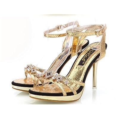 Sandales à Talons Hauts d'été pour Femme,Ladies Womens Stiletto Fashion Talons Hauts Prom Sandales de MariéE Chaussures Taille Evening Party
