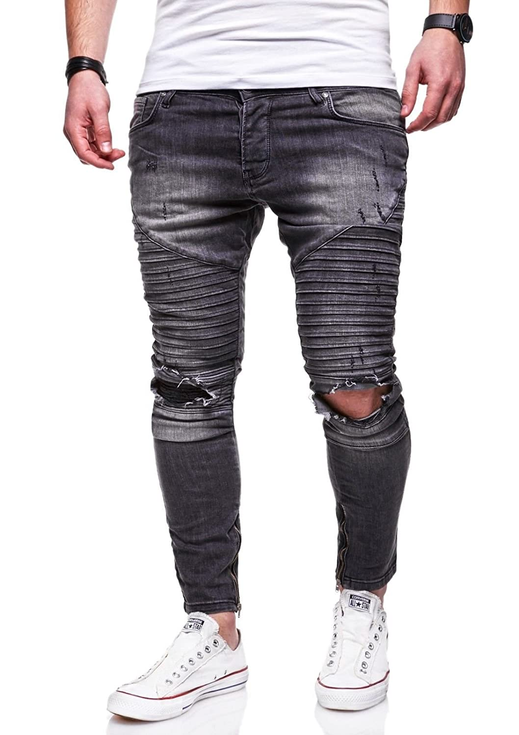 Behype Mens Jeans Pants With Destroyed Effect and Ripped Knees JN-3239