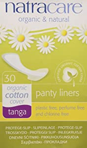 Natracare Organic and Natural Tanga Panty Liners, Thong Style, 30 Count, 3 Boxes (90 Liners Total)
