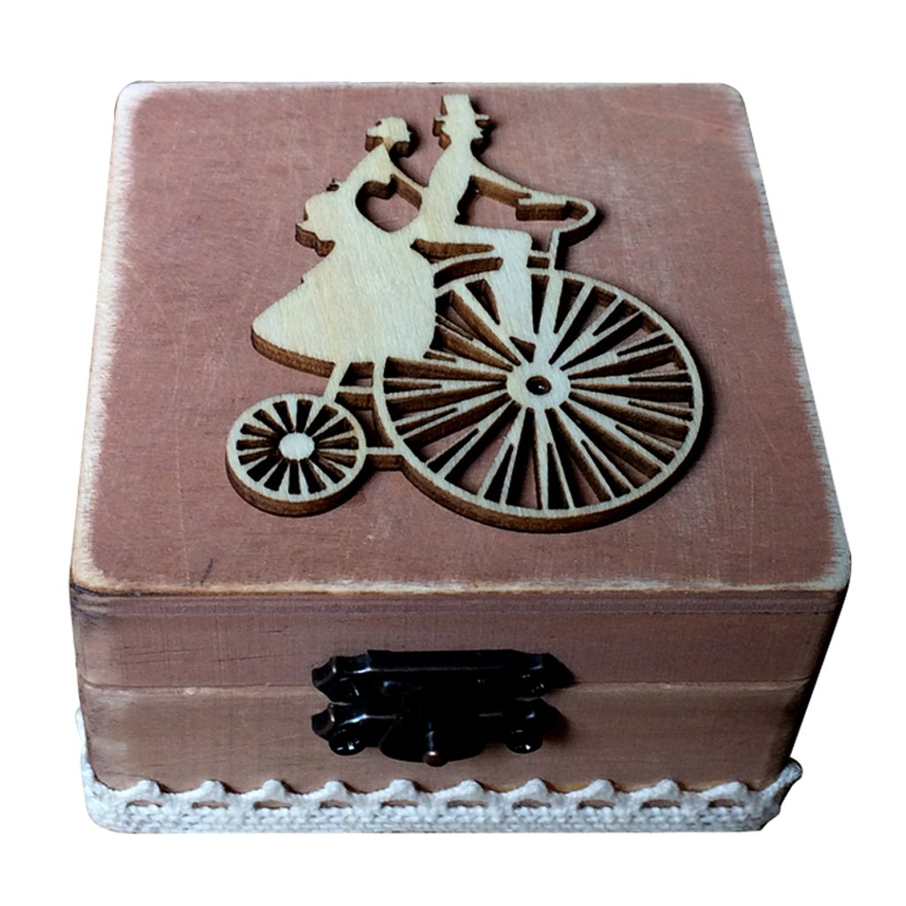 Dovewill Wood Riding Bride Groom Ring Box Wedding Engagement Ring Holder Jewelry Box