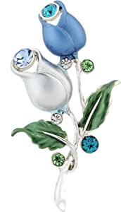Neoglory Jewelry Platinum Plated Geminate Flower Blue and White Tulip Flower Brooch Pin
