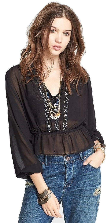 Free People Women's Semi-sheer Beaded V-neck Chiffon Peplum Top Black Size Large