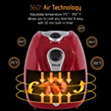 Della Electric Air Fryer w/ Temperature Control, Detachable Basket Handle - Red, 1500W