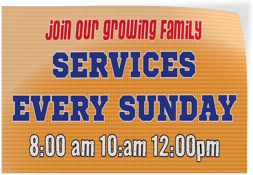 Set of 2 Decal Sticker Multiple Sizes Join Our Family Services Every Sunday Hobbies Prayers Outdoor Store Sign Orange 54inx36in