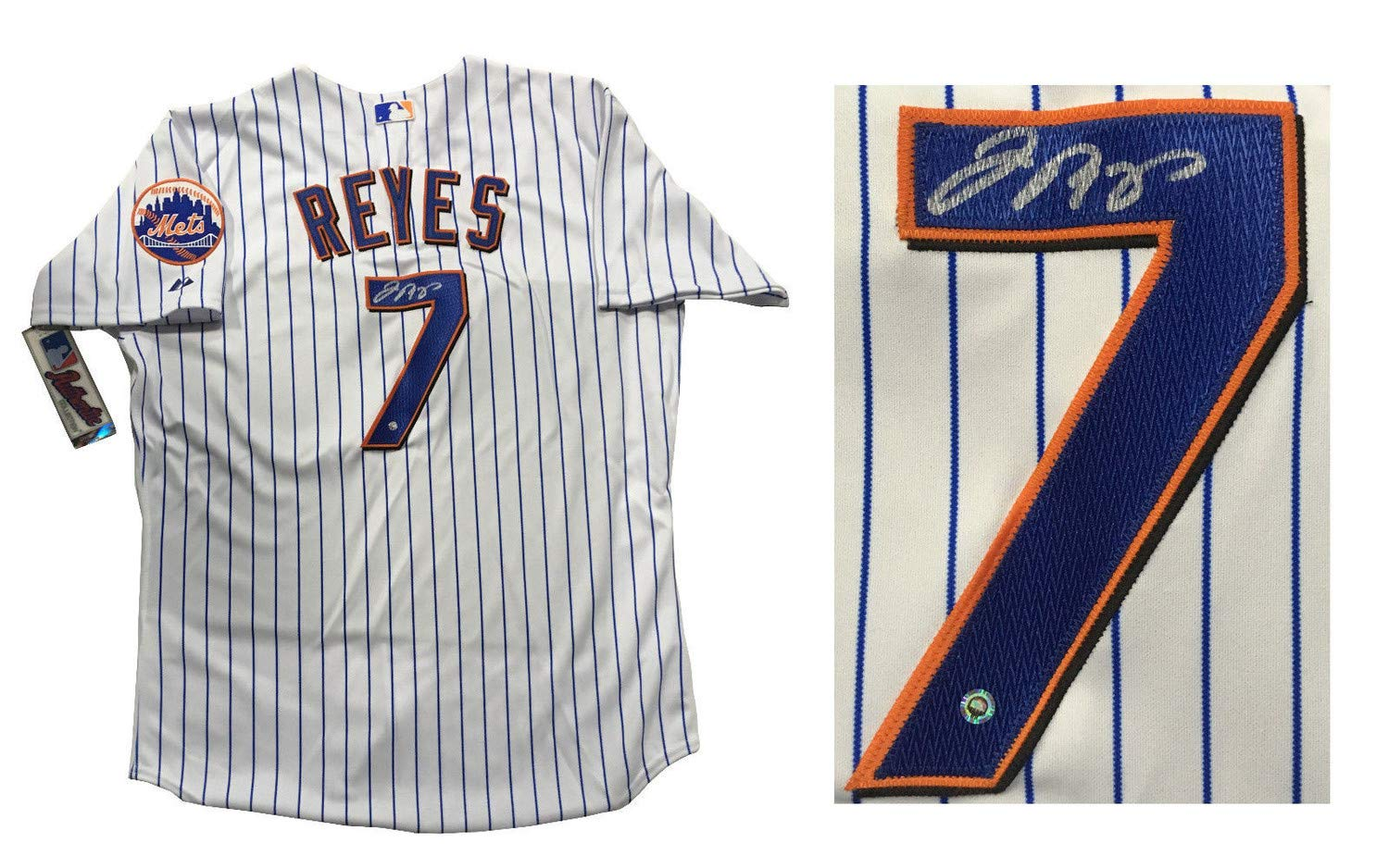 sports shoes 40a56 e3bb2 Jose Reyes Autographed Signed Majestic Authentic Mets ...