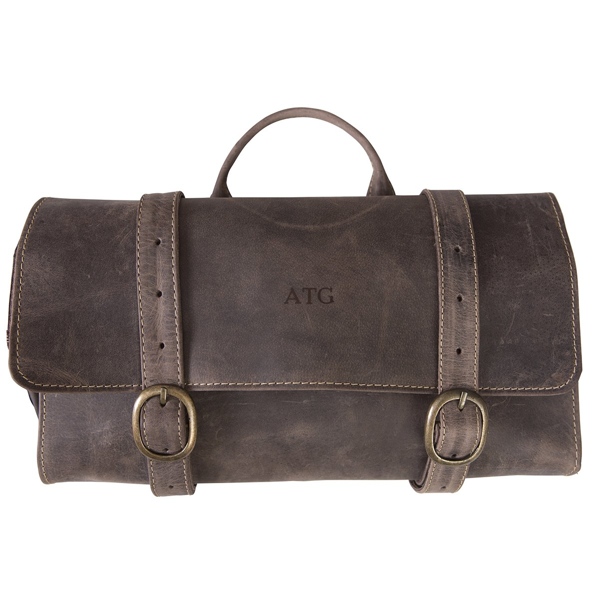 Personalized Distressed Brown Leather Hanging Men's Travel Toiletry Bag - Blind