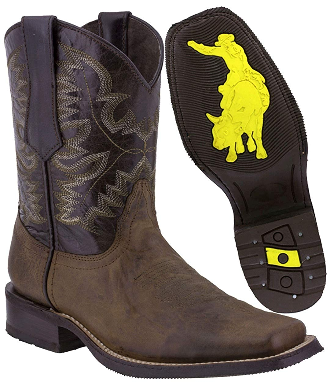 Texas Legacy - Men's Leather Western Cowboy Boots Rubber Sole Square Toe