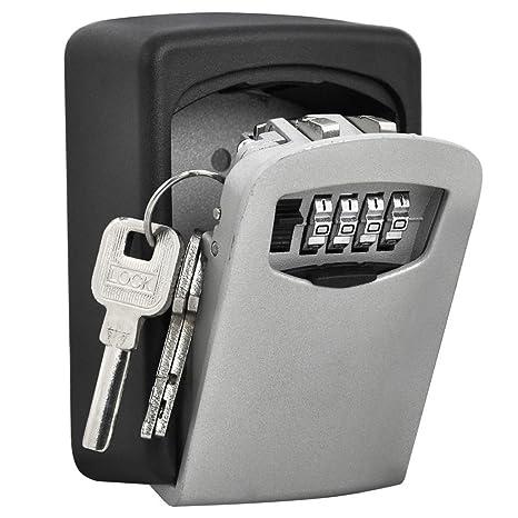 Caja de seguridad para guardar llaves con código de apertura, soporte de pared